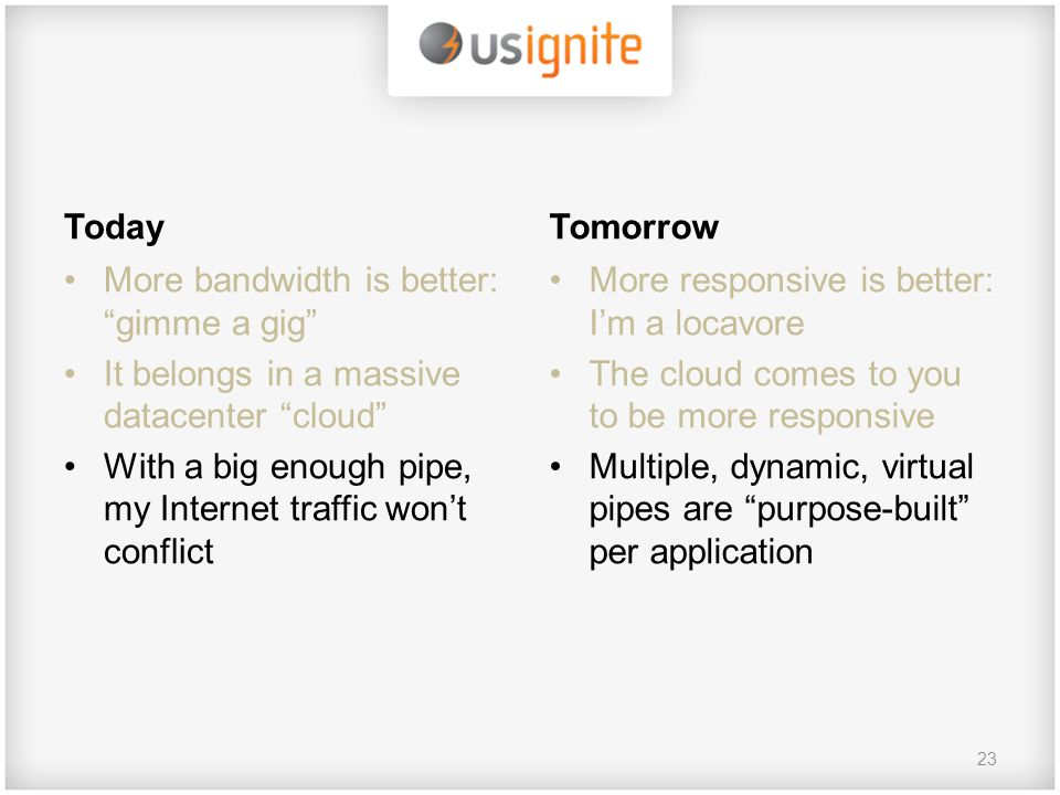 Today More bandwidth is better: gimme a gig It belongs in a massive datacenter cloud With a big enough pipe, my Internet traffic won't conflict Tomorrow More responsive is better: I'm a locavore The cloud comes to you to be more responsive Multiple, dynamic, virtual pipes are purpose-built per application 23