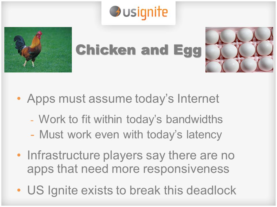 Chicken and Egg Apps must assume today's Internet - Work to fit within today's bandwidths -Must work even with today's latency Infrastructure players
