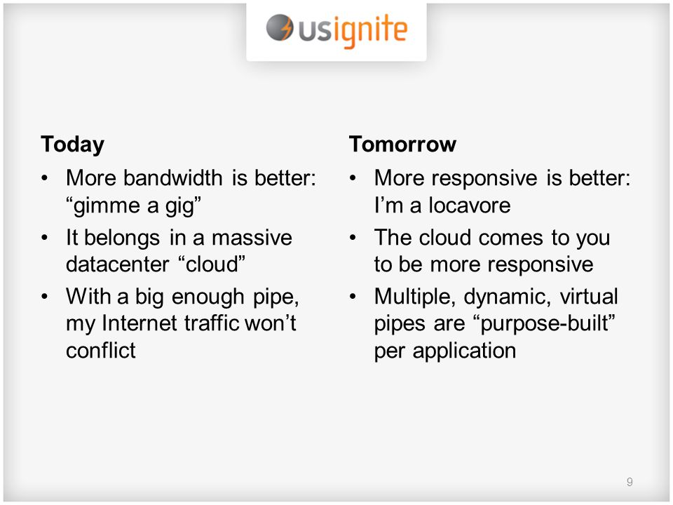 Today More bandwidth is better: gimme a gig It belongs in a massive datacenter cloud With a big enough pipe, my Internet traffic won't conflict Tomorrow More responsive is better: I'm a locavore The cloud comes to you to be more responsive Multiple, dynamic, virtual pipes are purpose-built per application 9
