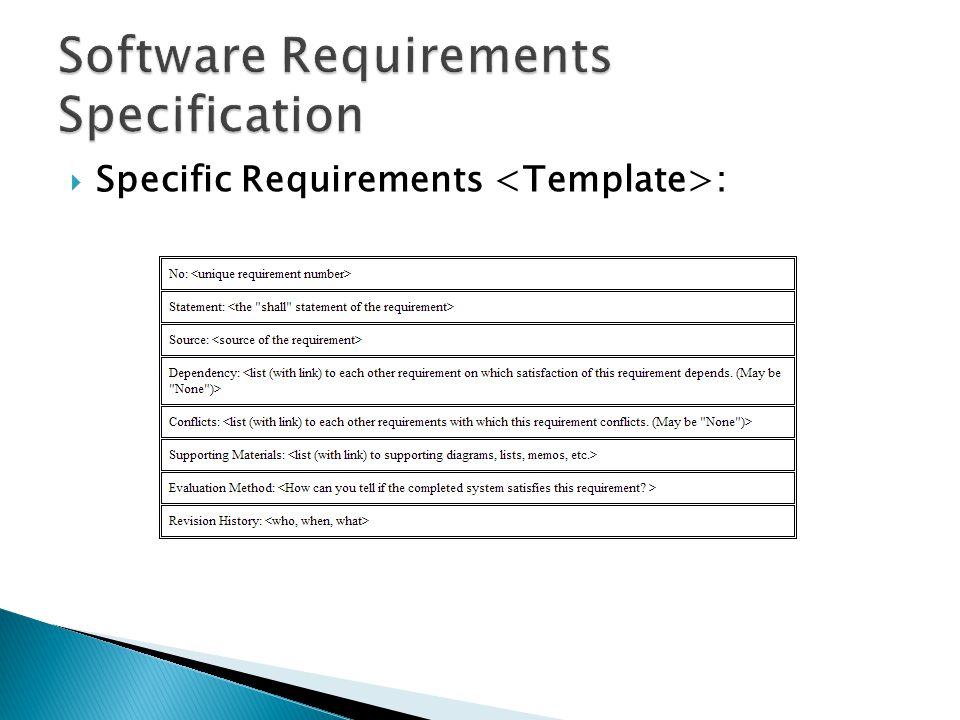  Specific Requirements :