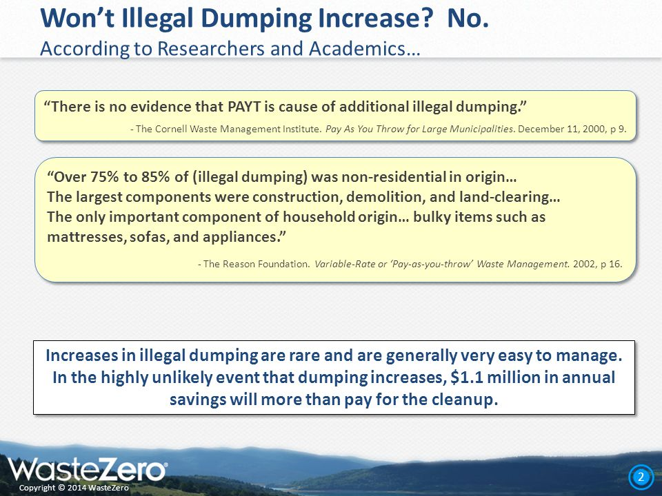 Copyright © 2014 WasteZero 2 Won't Illegal Dumping Increase.