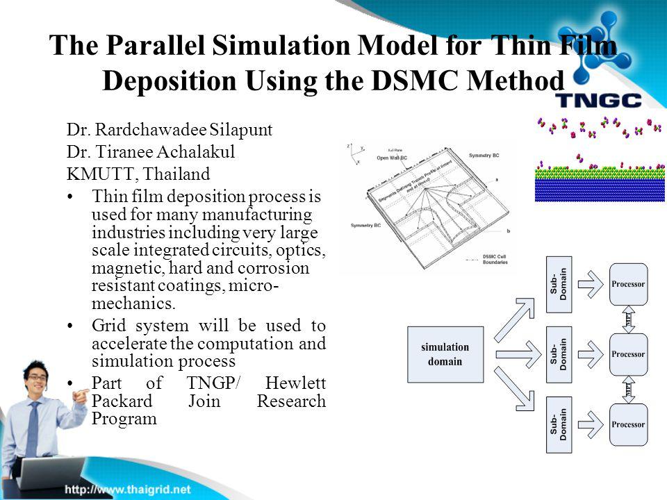 The Parallel Simulation Model for Thin Film Deposition Using the DSMC Method Dr. Rardchawadee Silapunt Dr. Tiranee Achalakul KMUTT, Thailand Thin film