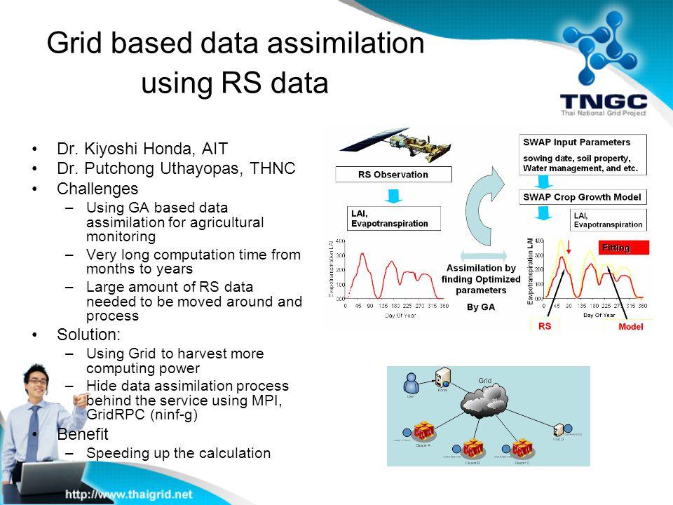 Grid based data assimilation using RS data Dr. Kiyoshi Honda, AIT Dr. Putchong Uthayopas, THNC Challenges –Using GA based data assimilation for agricu