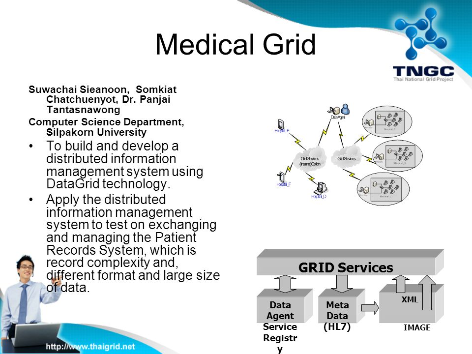 Medical Grid Suwachai Sieanoon, Somkiat Chatchuenyot, Dr. Panjai Tantasnawong Computer Science Department, Silpakorn University To build and develop a