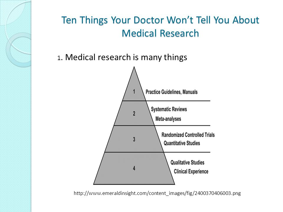 Ten Things Your Doctor Won't Tell You About Medical Research Last summer British researchers provoked concern when they published a paper raising the possibility that by following an established guideline UK doctors may have caused as many as 10,000 deaths each year.