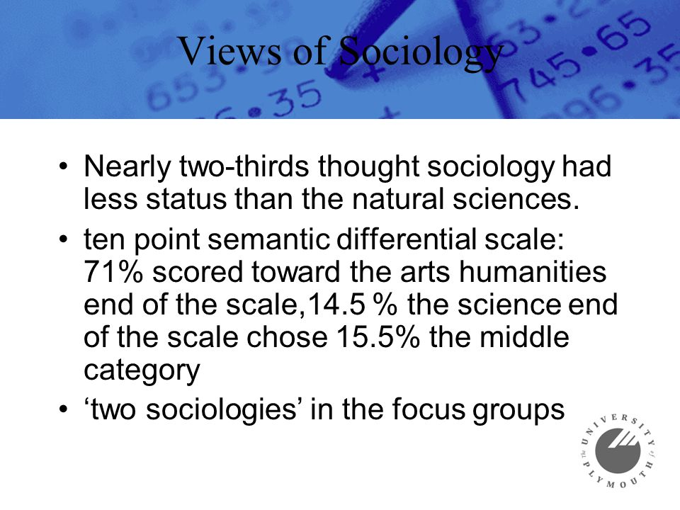 Views of Sociology Nearly two-thirds thought sociology had less status than the natural sciences. ten point semantic differential scale: 71% scored to