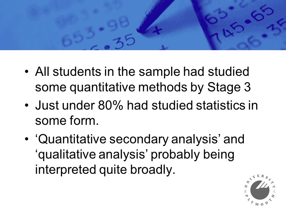 All students in the sample had studied some quantitative methods by Stage 3 Just under 80% had studied statistics in some form. 'Quantitative secondar