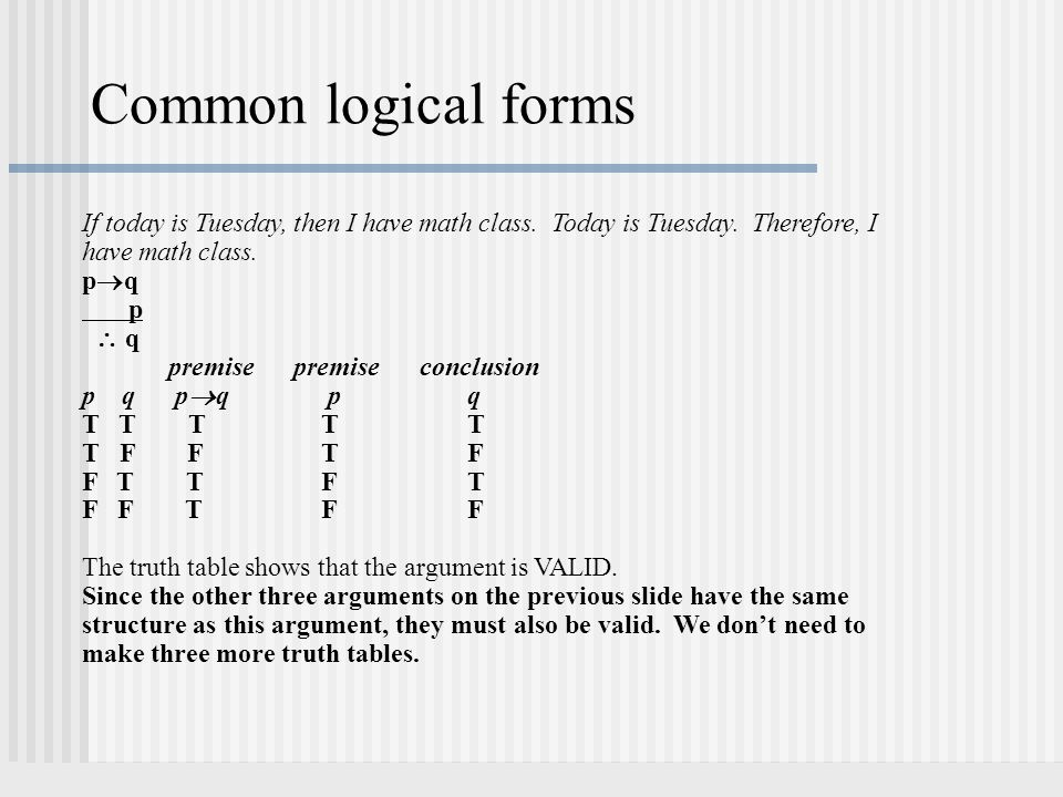 Common logical forms If today is Tuesday, then I have math class. Today is Tuesday. Therefore, I have math class. pqpq p  q premise premise conclus