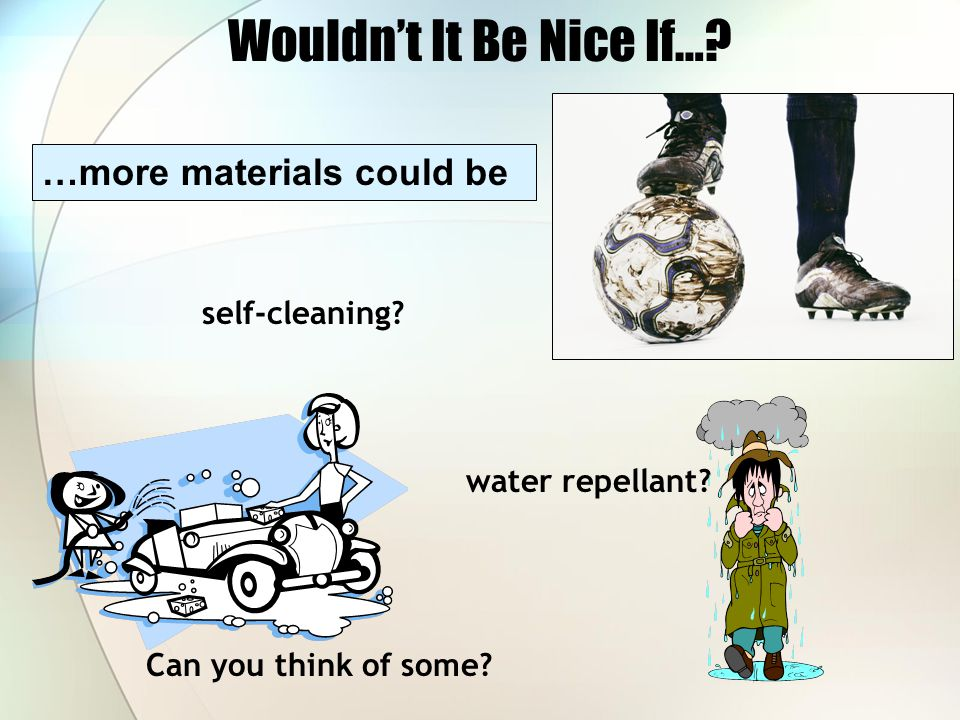 Wouldn't It Be Nice If…? …more materials could be self-cleaning? water repellant? Can you think of some?