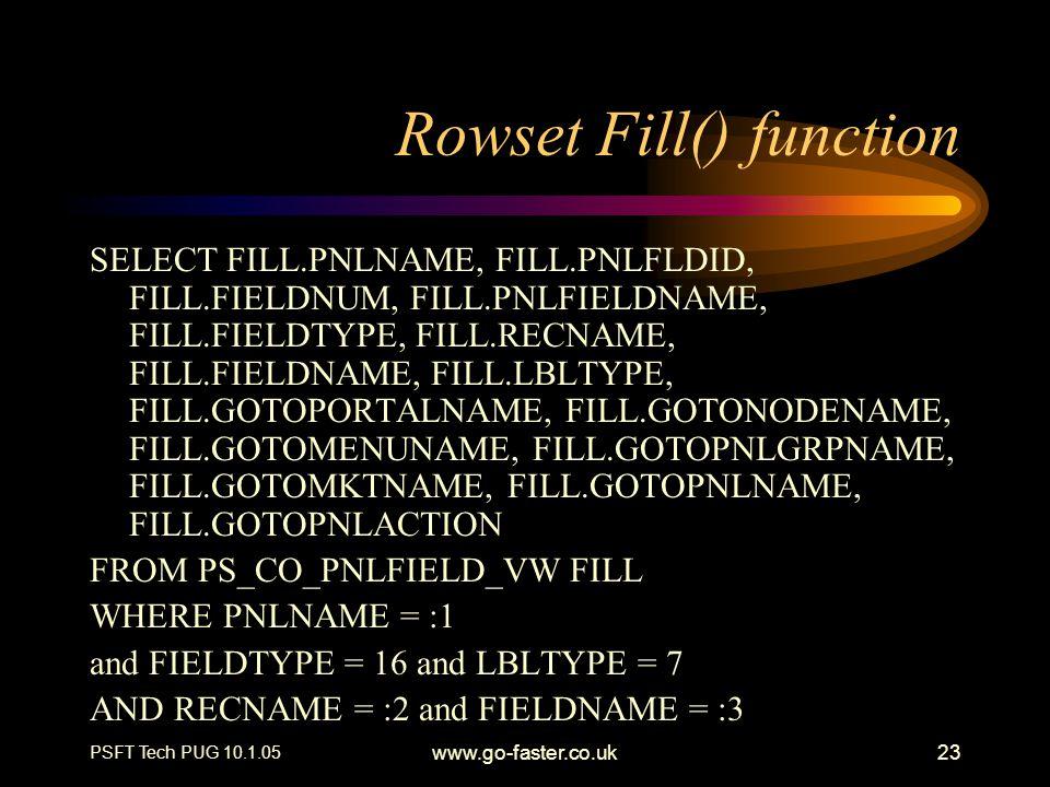 PSFT Tech PUG 10.1.05 www.go-faster.co.uk23 Rowset Fill() function SELECT FILL.PNLNAME, FILL.PNLFLDID, FILL.FIELDNUM, FILL.PNLFIELDNAME, FILL.FIELDTYP