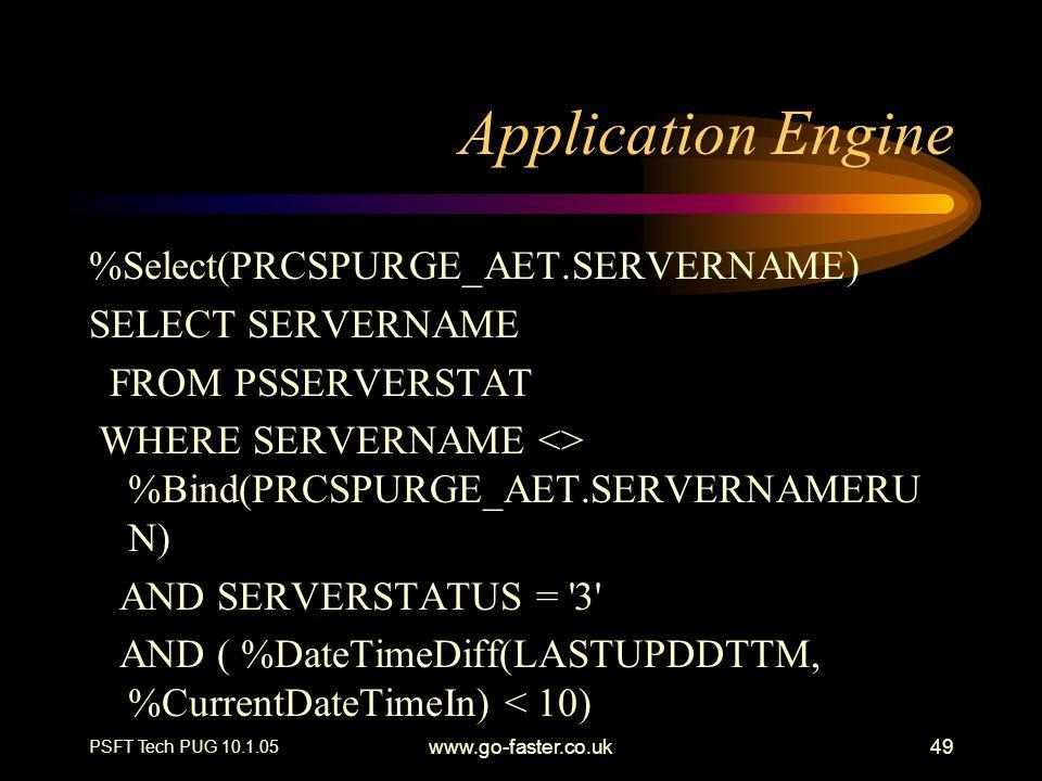 PSFT Tech PUG 10.1.05 www.go-faster.co.uk49 Application Engine %Select(PRCSPURGE_AET.SERVERNAME) SELECT SERVERNAME FROM PSSERVERSTAT WHERE SERVERNAME