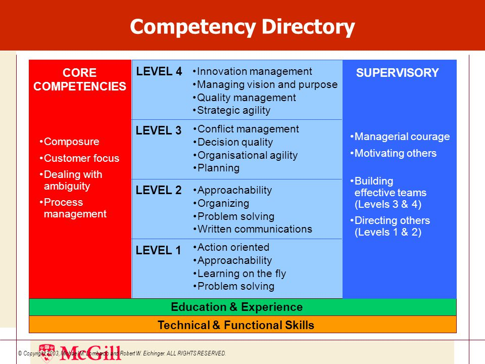 CORE COMPETENCIES Composure Customer focus Dealing with ambiguity Process management LEVEL 2 Approachability Organizing Problem solving Written communications LEVEL 3 Conflict management Decision quality Organisational agility Planning LEVEL 1 Action oriented Approachability Learning on the fly Problem solving LEVEL 4 Innovation management Managing vision and purpose Quality management Strategic agility Technical & Functional Skills Education & Experience SUPERVISORY Managerial courage Motivating others Building effective teams (Levels 3 & 4) Directing others (Levels 1 & 2) © Copyright 2003, Michael M.