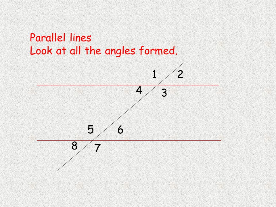 Parallel lines Look at all the angles formed. 12 3 4 56 7 8