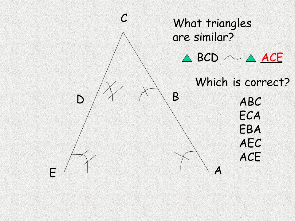 A B C D E What triangles are similar BCD Which is correct ___ ABC ECA EBA AEC ACE