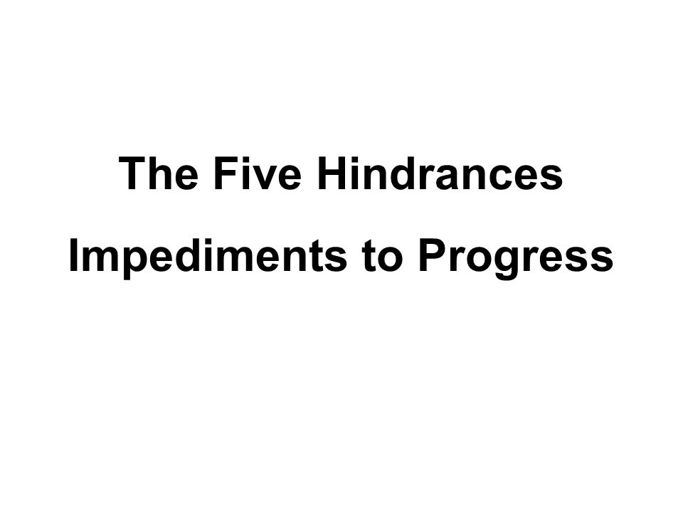 The Five Hindrances 1.Sensual Desire 2.Ill will 3.Sloth and torpor 4.Restlessness and worry 5.Sceptical doubt
