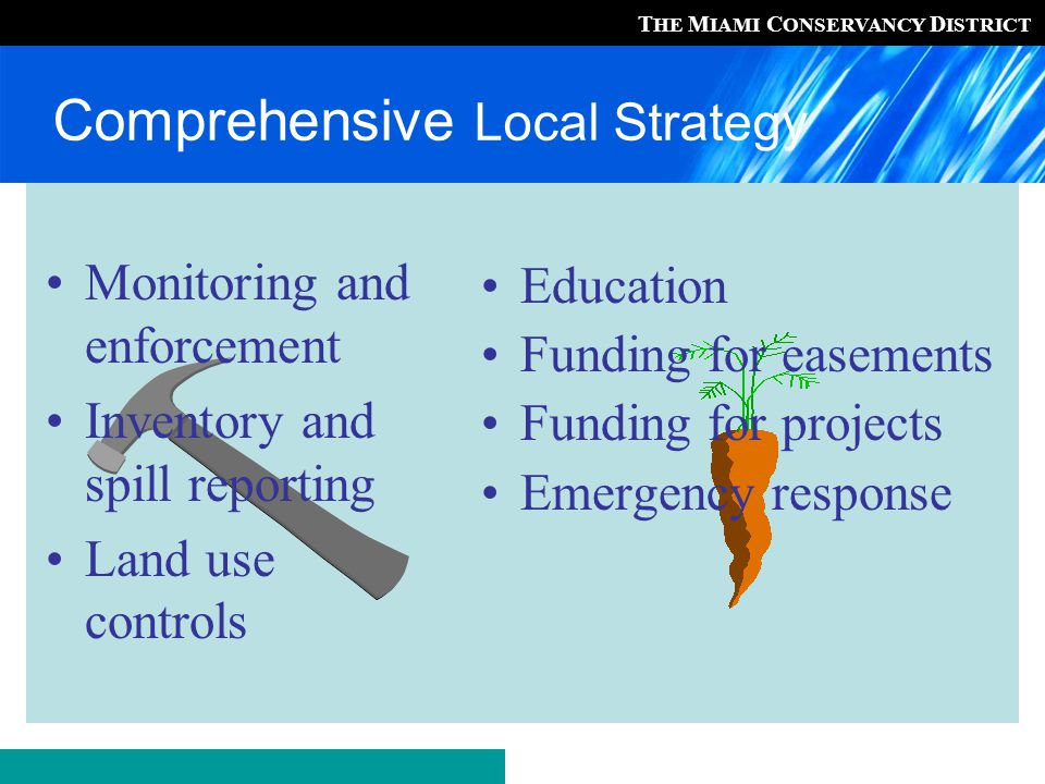 T HE M IAMI C ONSERVANCY D ISTRICT Education Funding for easements Funding for projects Emergency response Monitoring and enforcement Inventory and spill reporting Land use controls Comprehensive Local Strategy