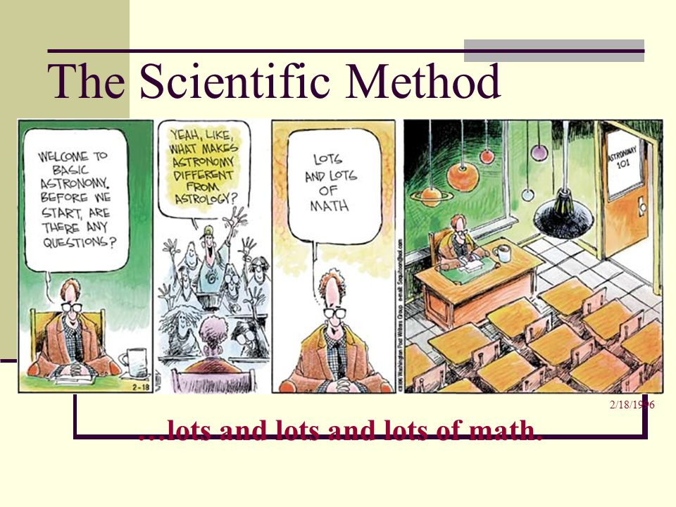 The Scientific Method …lots and lots and lots of math. 2/18/1996
