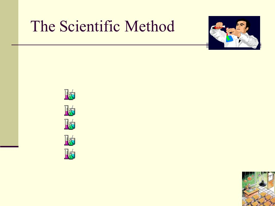 The Scientific Method The Scientific Method involves 5 steps: Observation Question Hypothesis Method Result