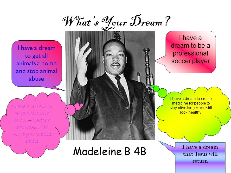 What's Your Dream? Madeleine B 4B I have a dream to be a professional soccer player I have a dream to get all animals a home and stop animal abuse I h