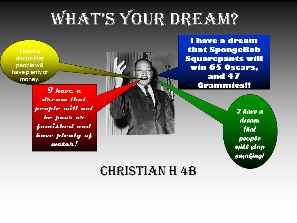 What's Your Dream. Christian H 4B I have a dream that people will stop smoking.
