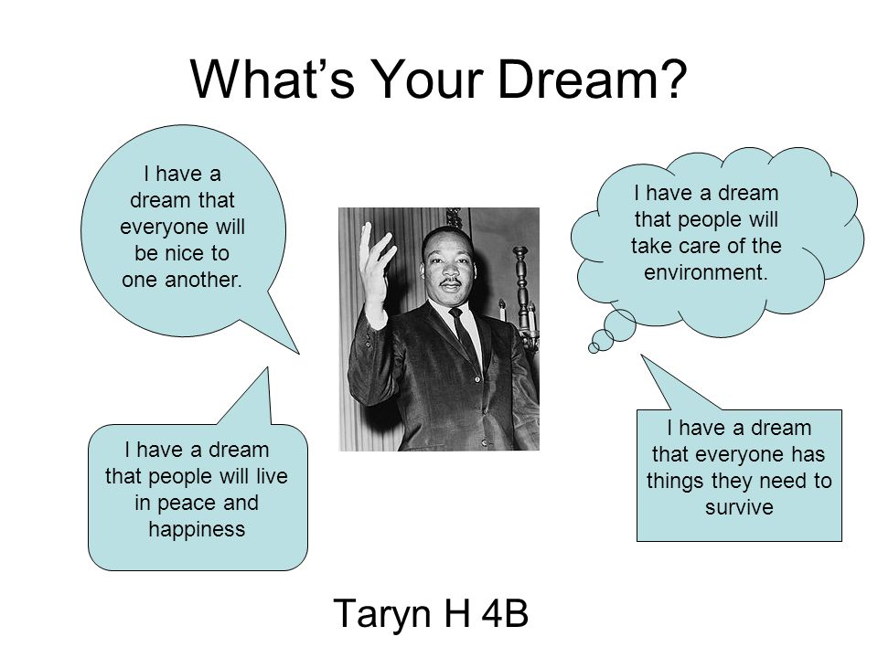 What's Your Dream. Taryn H 4B I have a dream that people will take care of the environment.