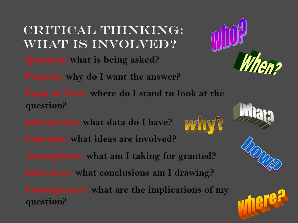 Critical Thinking: What is involved? Question: what is being asked? Purpose: why do I want the answer? Point of View: where do I stand to look at the