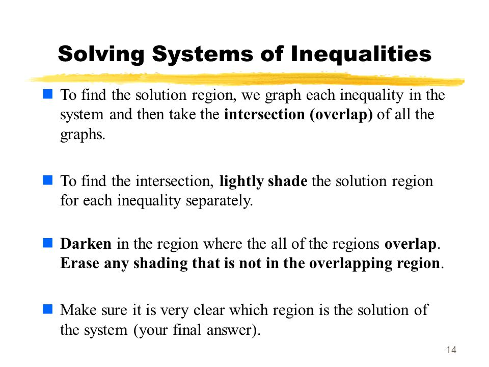 14 Solving Systems of Inequalities To find the solution region, we graph each inequality in the system and then take the intersection (overlap) of all