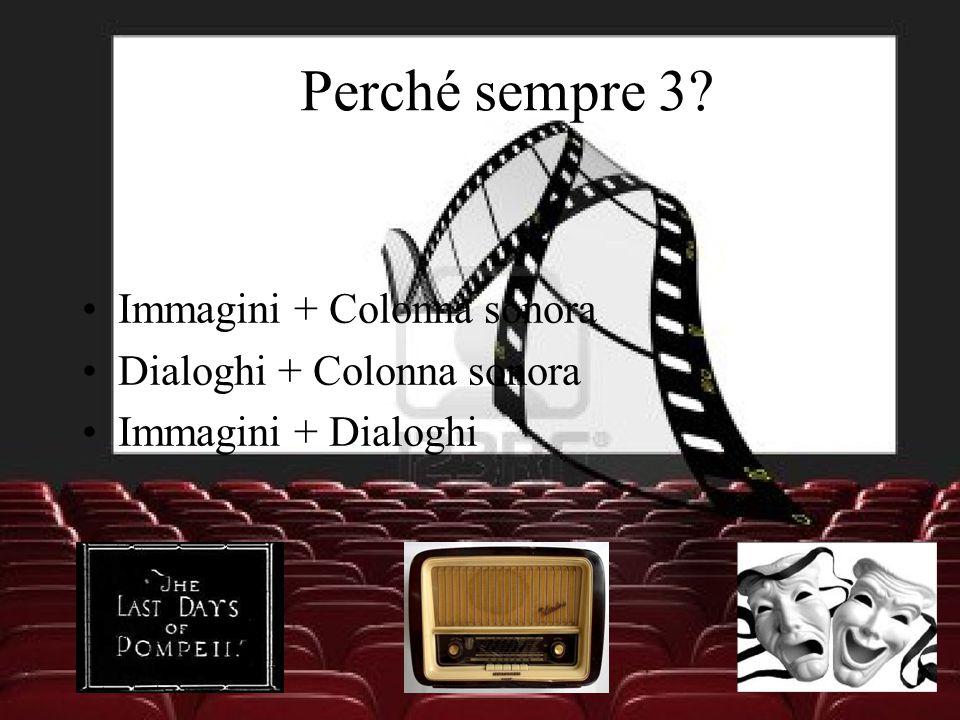 Perché sempre 3? Immagini + Colonna sonora Dialoghi + Colonna sonora Immagini + Dialoghi