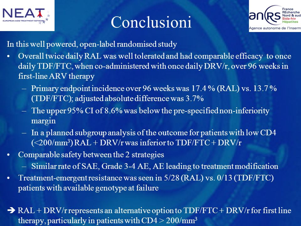 Conclusioni In this well powered, open-label randomised study Overall twice daily RAL was well tolerated and had comparable efficacy to once daily TDF/FTC, when co-administered with once daily DRV/r, over 96 weeks in first-line ARV therapy –Primary endpoint incidence over 96 weeks was 17.4 % (RAL) vs.