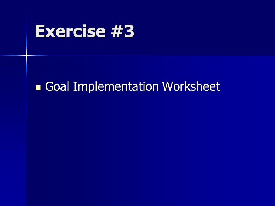 Exercise #3 Goal Implementation Worksheet Goal Implementation Worksheet