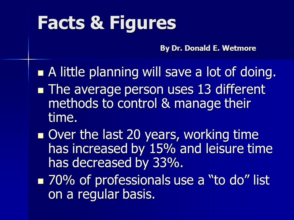 Facts & Figures By Dr. Donald E. Wetmore A little planning will save a lot of doing. A little planning will save a lot of doing. The average person us