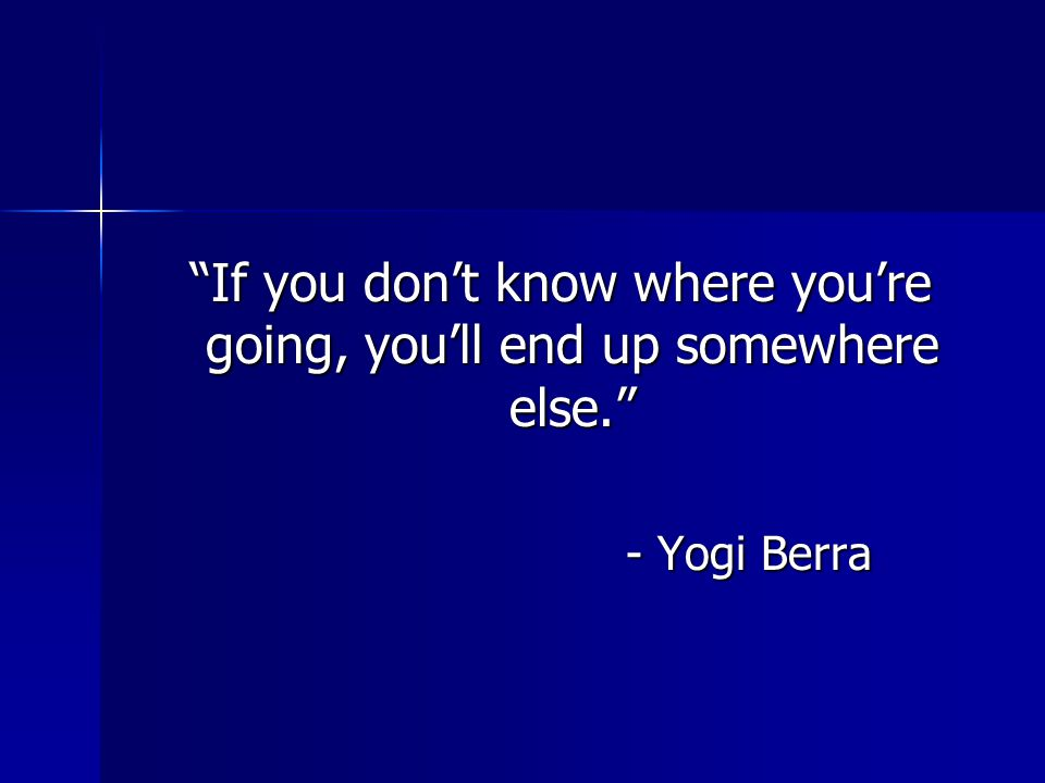 """""""If you don't know where you're going, you'll end up somewhere else."""" """"If you don't know where you're going, you'll end up somewhere else."""" - Yogi Ber"""