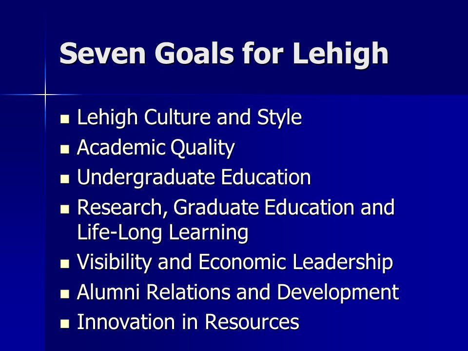 Seven Goals for Lehigh Lehigh Culture and Style Lehigh Culture and Style Academic Quality Academic Quality Undergraduate Education Undergraduate Educa