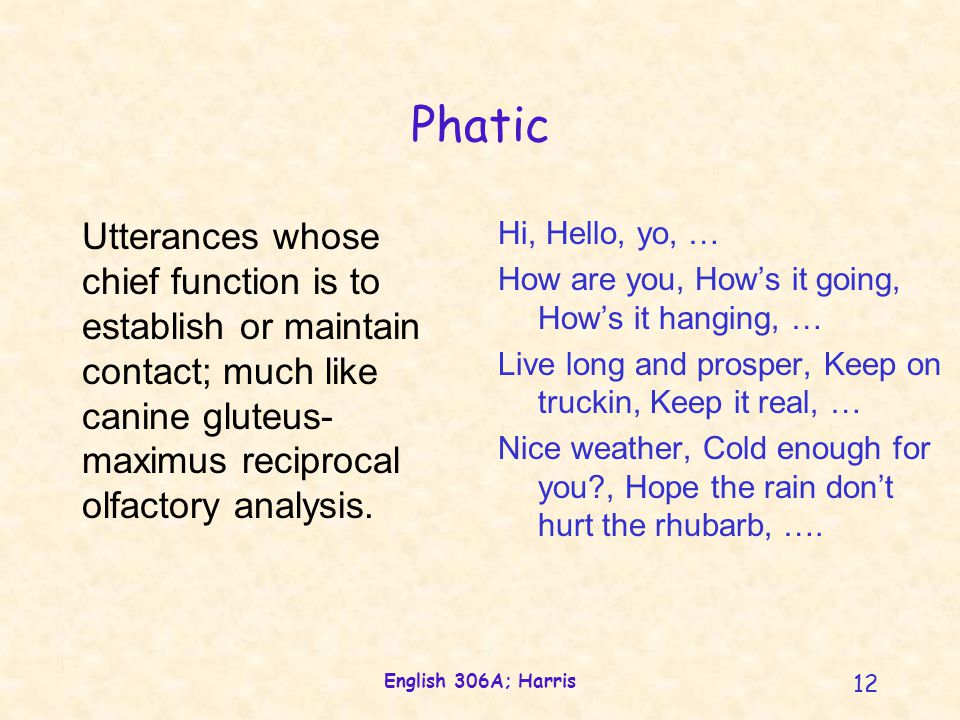 English 306A; Harris 12 Phatic Utterances whose chief function is to establish or maintain contact; much like canine gluteus- maximus reciprocal olfactory analysis.