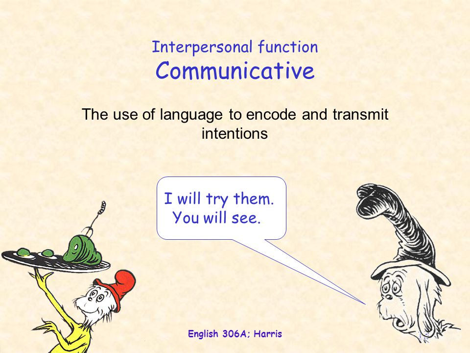 English 306A; Harris 13 Interpersonal function Communicative The use of language to encode and transmit intentions I will try them.