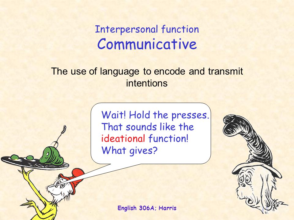 English 306A; Harris 14 Interpersonal function Communicative The use of language to encode and transmit intentions Wait.