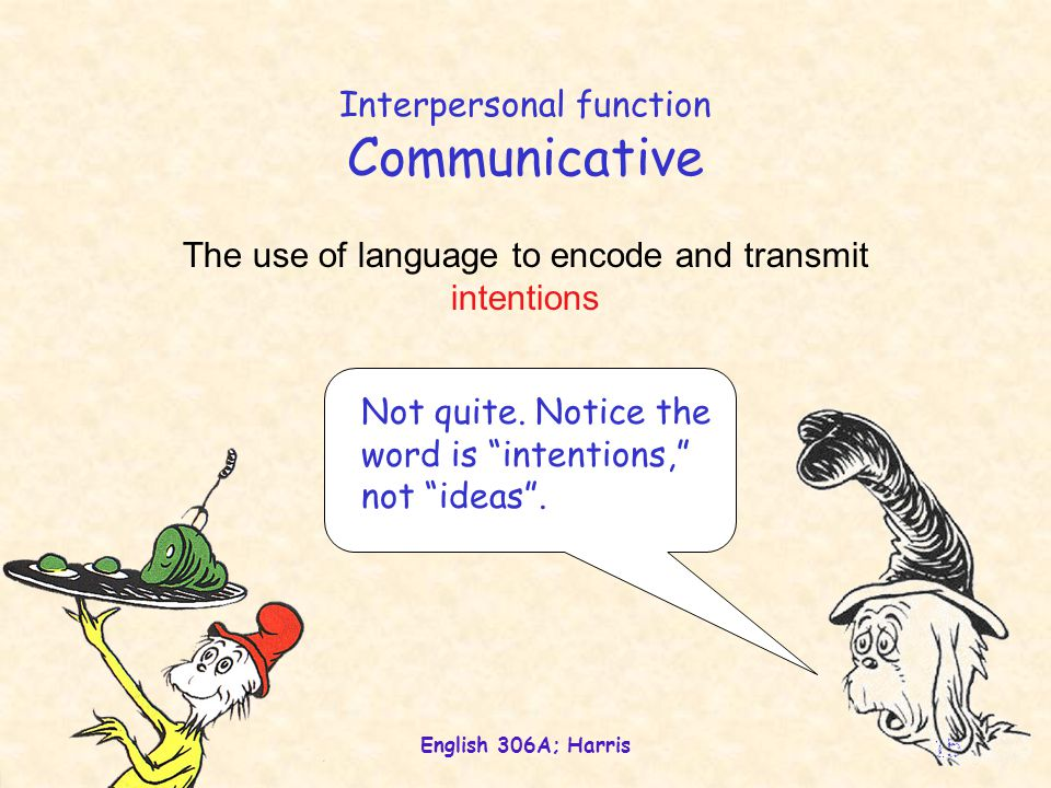 """English 306A; Harris 15 Interpersonal function Communicative The use of language to encode and transmit intentions Not quite. Notice the word is """"inte"""