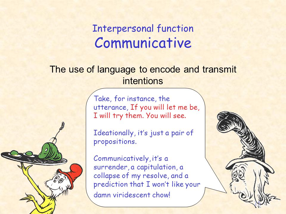 English 306A; Harris 16 Interpersonal function Communicative The use of language to encode and transmit intentions Take, for instance, the utterance, If you will let me be, I will try them.