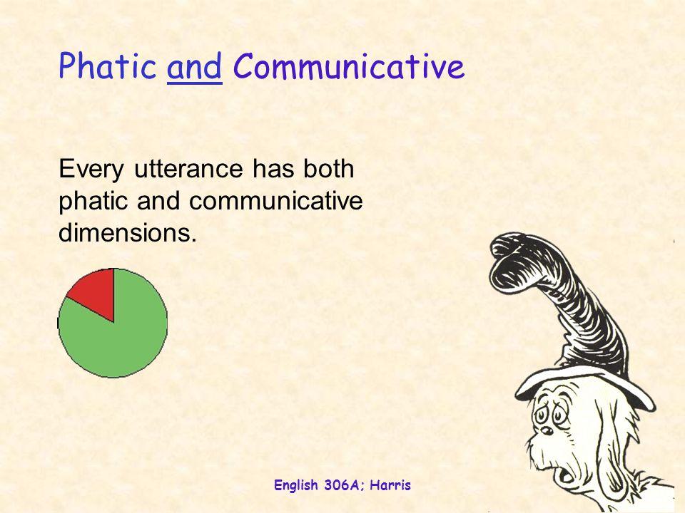 English 306A; Harris 19 Phatic and Communicative Every utterance has both phatic and communicative dimensions.