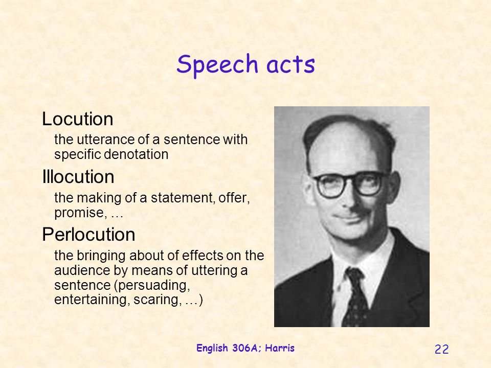 English 306A; Harris 22 Speech acts Locution the utterance of a sentence with specific denotation Illocution the making of a statement, offer, promise, … Perlocution the bringing about of effects on the audience by means of uttering a sentence (persuading, entertaining, scaring, …)