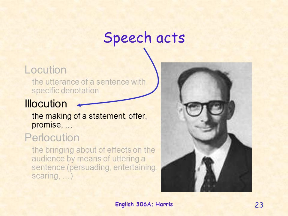 English 306A; Harris 23 Locution the utterance of a sentence with specific denotation Illocution the making of a statement, offer, promise, … Perlocution the bringing about of effects on the audience by means of uttering a sentence (persuading, entertaining, scaring, …) Speech acts