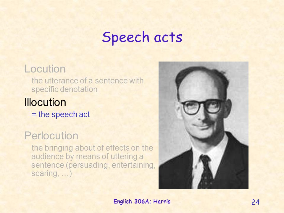 English 306A; Harris 24 Locution the utterance of a sentence with specific denotation Illocution = the speech act Perlocution the bringing about of effects on the audience by means of uttering a sentence (persuading, entertaining, scaring, …) Speech acts