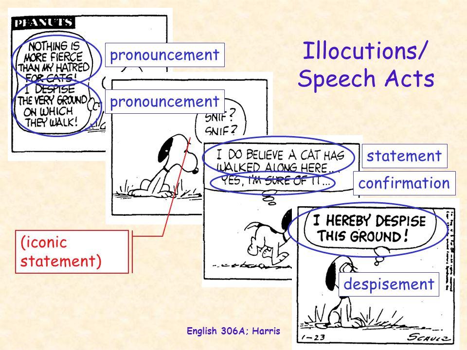 English 306A; Harris 25 Illocutions/ Speech Acts pronouncement statement confirmation despisement (iconic statement)
