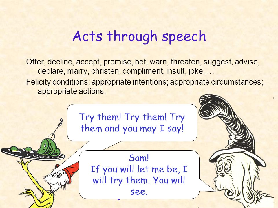 English 306A; Harris 29 Acts through speech Offer, decline, accept, promise, bet, warn, threaten, suggest, advise, declare, marry, christen, compliment, insult, joke, … Felicity conditions: appropriate intentions; appropriate circumstances; appropriate actions.
