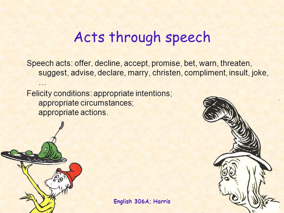 English 306A; Harris 34 Acts through speech Speech acts: offer, decline, accept, promise, bet, warn, threaten, suggest, advise, declare, marry, christen, compliment, insult, joke, … Felicity conditions: appropriate intentions; appropriate circumstances; appropriate actions.