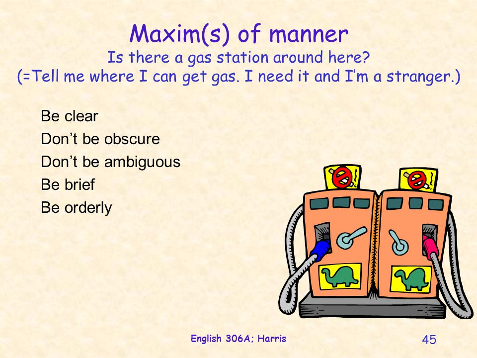 English 306A; Harris 45 Maxim(s) of manner Is there a gas station around here.