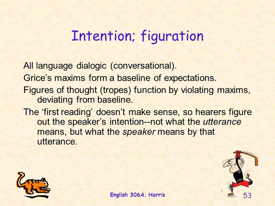 English 306A; Harris 53 Intention; figuration All language dialogic (conversational).