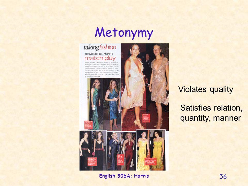 English 306A; Harris 56 Metonymy Violates quality Satisfies relation, quantity, manner