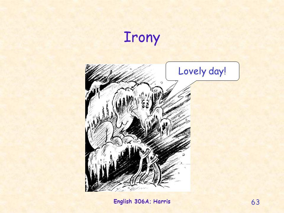 English 306A; Harris 63 Irony Lovely day!