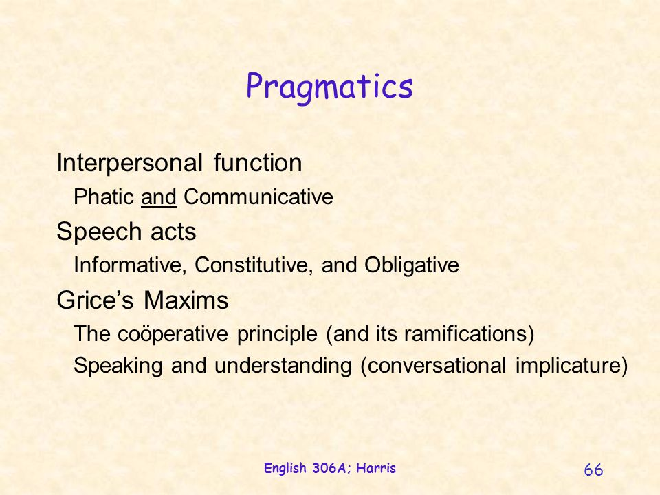 English 306A; Harris 66 Pragmatics Interpersonal function Phatic and Communicative Speech acts Informative, Constitutive, and Obligative Grice's Maxims The coöperative principle (and its ramifications) Speaking and understanding (conversational implicature)